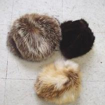 Mint 3 Fur Hat Lot Red Fox Natural Raccoon & Dark Ranch Mink Women Woman Photo