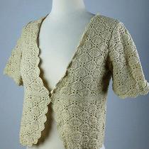 Mint50 Express Tan Beige Crochet Knit Stretch Shrug Cardigan Top S Xs M Photo