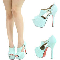Mint Aqua Blue Peep Open Toe High Heel Platform Stiletto Booties Pump Sandal 5.5 Photo