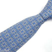 Mint Authentic Hermes Blue Rings Silk Mens Necktie Tie 7478 Ia Rt 220 Photo