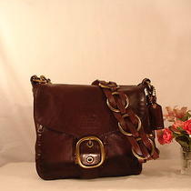 Mint Coach Bleecker Woven Laced Mahogany Leather Brass Purse Shoulder Bag 11446 Photo
