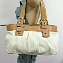 Mint Coach Soho White Brown Pleated Leather Large Tote F13732 Photo