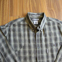 Mint Columbia River Lodge Hunting Shooting Shirt Mens Size Large L Green Plaid Photo