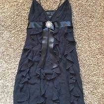 Mint Condition Like New Bcbg Max Azria Black Silk Ruffle Cocktail Dress Size 6 Photo