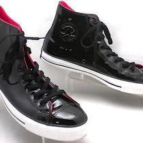 Mint Converse All-Star Chuck Taylor Black Patent Leather Punk Grunge Mens 12 Photo