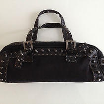 Mint Fendi Black Studded Selleria Baguette With Sterling Silver Fendi Plaque/tag Photo