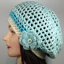 Mint Green Aqua Cream Slouch Beret Tam Hat Flower Women Crochet Boho Stripe Mesh Photo