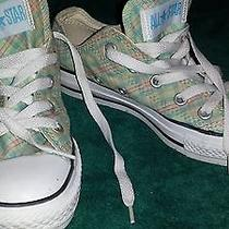 Mint Green Plaid Low Tops Converse Size 6  Photo