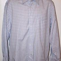 Mint Men's James Campbell Blue White Plaid Long Sleeve Button Down Shirt Sz L Photo