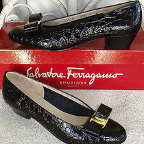 Mint  Salvatore Ferragamo W/box Vara Bow 7 B Croc Black Leather Pump Shoe Heel  Photo