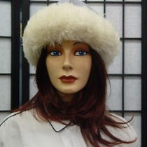 Mint Shearling Lamb Suede Fur Hat Women Men Sz 22