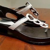 Mint Sz 8 Calvin Klein Ying White & Black Cutout Wedge Slip-on Sandals Shoes Photo