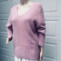 Mint  Theory  L Large  Dusty Pink Angora Sweater Pullover v-Neck Top  Photo