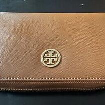 Mint Tory Burch Brown Leather Zip-Around Smartphone Wristlet Wallet. Photo