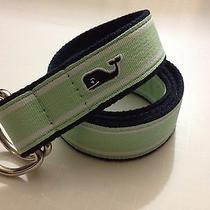Mint Vineyard Vines Seafoam Green Navy Blue Ribbon Stripe Whale D Ring Belt Sz M Photo