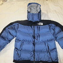 Minty Euc North Face Medium 700 Down Blue Hooded Parka  Nwt Gloves Photo