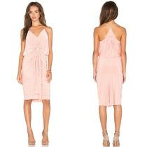 Misa Los Angeles Womens Sz S Domino Tie Front Midi Blush Dress Knee Length  Photo