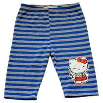 Misha Lulu Hello Kitty Blue/gray Striped Knit Bike Shorts  Nwt Girl  4 Photo