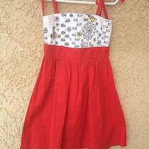 Misha Lulu Retro Floral Bird Print Retro Red Twirly Sundress Dress 2t Photo