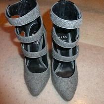 Misha Nonoo X Aldo Rise Grey & Black Mixed Texture 3 Strap Mary Jane Heels Sz6 Photo