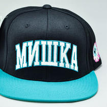 Mishka Cyrillic Varsity Snapback Hat (Black/aqua) Photo