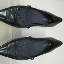 Mismatched Prada L Sz 35.5 5.5 R Sz 37 7 Black Leather Ballet Flats Bow Photo