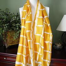 Miss Balmain 60 X 15 Fringed Oblong Silk Scarf in Gold on White Geometric Print Photo