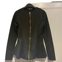 Miss Blush Black Peplum Jacket Blazer With Gold Zip Size Small  Photo