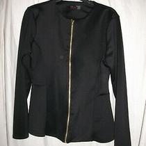 Miss Blush Black Thin Long Sleeved Zipped Jacket Size 14 Photo