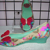 Miss L-Fire Butterfly Peep Toe Wedges Natural & Multi Color  Sz 41  10b Photo