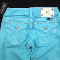 Miss Me Jeans Size 30 Flap Pockets Skinny Leg New 2013 Jw5180s13 Aqua Blue Photo