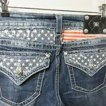 Miss Me Signature Boot Cut Jeans Size 31 Flag Stars Red White Blue Flap Pockets Photo