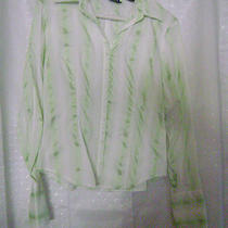 Misses Green/white Stripe Shirt Sz M Cotton Express Photo