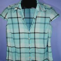 Misses Jones New York Size Small Blue Plaid Cap Sleeve Button Front Shirt B Photo