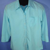 Misses Liz Claiborne Size Small Aqua Blue 3/4 Sleeve Button Front Dress Shirt B Photo