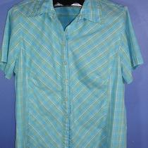 Misses North Crest Size 1x 14w-16w Tuquoise Blue Plaid Button Front Shirt J Photo