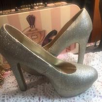 Misses Platform Gold Sparkly High Heels sz8.5 Guc Shoes Costume Cosplay Mossimo Photo