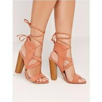 Missguided Cross Strap Lace Back Block Heel Sandals in Pink Blush (40) Photo