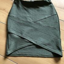 Missguided Khaki Green Stretch Bodycon Skirt Size Uk 4 Excellent Condition Photo