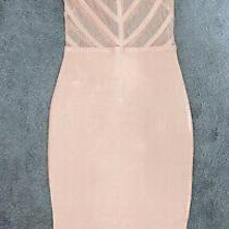 Missguided Midi Dress Pink Blush Bandage Size 8  Photo