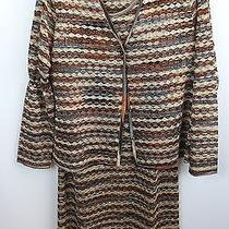 Missoni 2-Piece Brown Print Designer Dress/cardigan Set Size 6 Photo