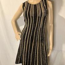 Missoni 38 Metallic Black Gold Knit Sleeveless Fitted Dress Mini 2 895 Photo