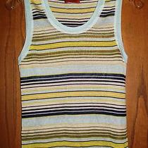 Missoni 690 Aqua Chartreuse Navy Beige & Avocado Striped Knit Top Shell 40 6 Photo