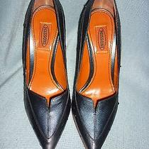 Missoni Black Ostrich Leather Pointed Toe Heels (Size 39) Photo