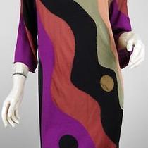 Missoni Black/peach/sage Green/rust Wave Knit Sweater Dress Size 6 Photo