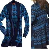 Missoni Blue & Aqua Long Maxi Cardigan Sweater Zig Zag Xl Matches Dress 10 12 14 Photo