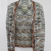 Missoni Brown Green Multi Color Turtleneck Sleeveless Top Sweater Cardigan Sz 6 Photo