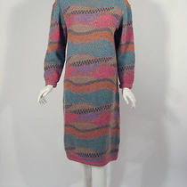 Missoni Cowl Neck Long Sleeve Sweater Dress Multi-Color Earthtones Sz. Large Photo