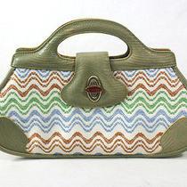 Missoni Cream and Green Lizard and Canvas Small Handbag Purse Photo