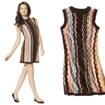 Missoni Dress Colore Brown Aqua Chevron Nwt Med 6 8 10 Zig Zag Passione Skirt Photo